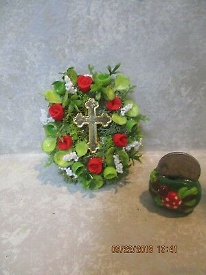 """Miniature Doll/dollhouse/wedding 2"""" Oval Religious/Cross red rose wreath"""