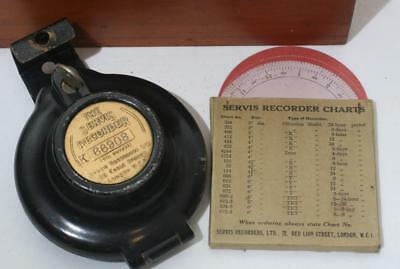 Antique Service Recorder - Clocking In Clock ? with Charts and Wooden Case