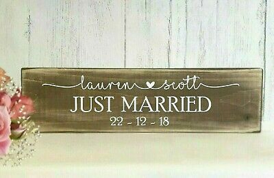 Just Married Wedding Top table Sign Personalised Rustic Wooden Table Decoration