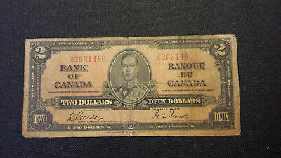 1937 Bank of Canada $2 Canadian Money - Very Worn Tired but Intact D/B 2661480