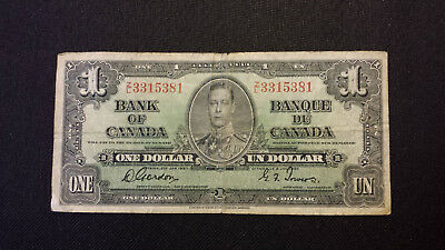1937 Bank of Canada $1 Canadian Money - Good Cond. # Z/L 3315381 Gordon/Towers