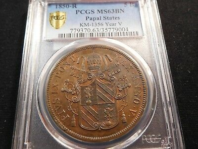 W20 Italy Papal States 1850-R 5 Baiocchi KM-1356 Year-V PCGS MS-63 Brown