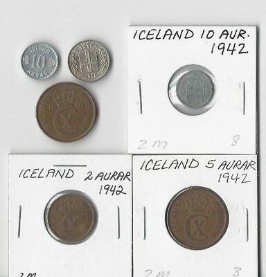 Iceland. Assorted Vintage  Lot Of 6 Coins. See Pics.