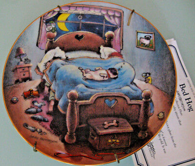 Gary Patterson PUG DOG Collector Plate, BED HOG Limited Edition with Hanger