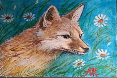 ACEO original fantasy animal painting fox daisies, signed Alice Rockwall 2006