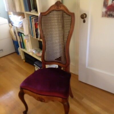 Restored French Victorian Dining Room Chair with Red Upholstery and New Cushion
