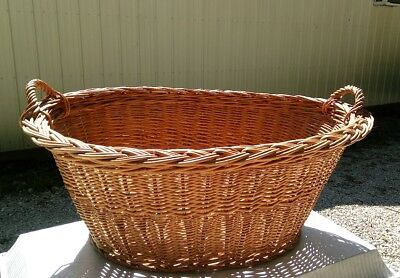 Antique Wicker Rattan Laundry Basket Farm House French Country 2 Handle Clothes