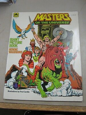 Masters Of The Universe Giant Picture Book Heroic Warriors Fine+ 1984 Golden