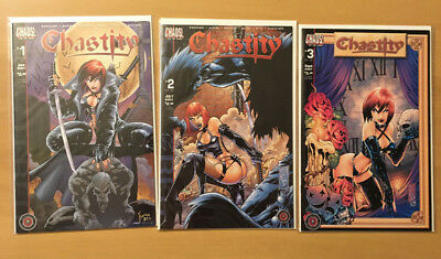 CHAOS CHASTITY SHATTERED 3 comic lot 1 2 3 COMPLETE