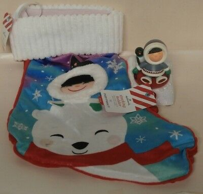 Hallmark Frosty Friends Stocking Holder (Penguin) & Christmas Stocking NWTs