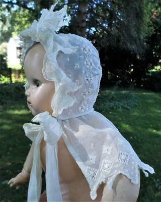 Antique Cotton Eyelet Lace Baby Bonnet For Doll Or Baby Beautiful !!