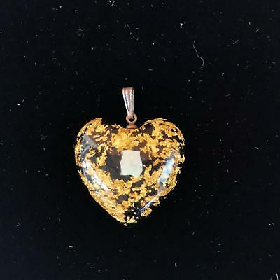 Vintage Opal and Gold Flake Pendant Necklace Acrylic Lucite Black Pendant Only