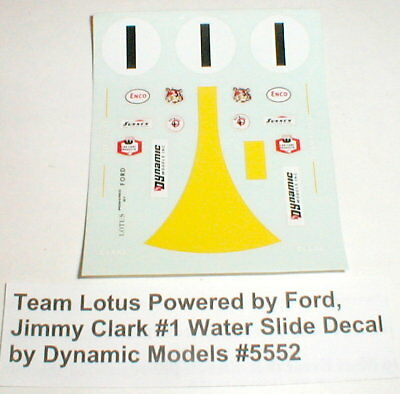 Team Lotus Powered by Ford, Jimmy Clark #1 Water Slide Decal by Dynamic #5552NOS
