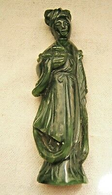 Vintage Chinese Spinach Dark Green Jade Figure Woman Carved
