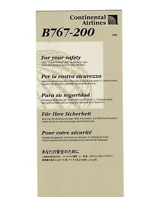 Continental Airlines Boeing 767-200 Safety Card revised 6/09