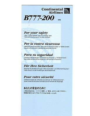Continental Airlines Boeing 777-200 Safety Card revised 6/09