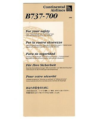 Continental Airlines Boeing 737-700 Safety Card revised 4/09