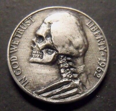 Hand Carved  Hobo nickel coin    skull zombie  Jeff 62