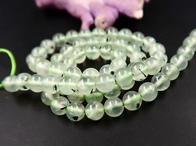 """65 AWESOME EPIDOTE IN PREHNITE SMOOTH ROUNDS BEADS 15.75"""" 122.6cts 6-6.4mm"""