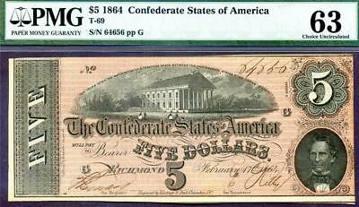 HGR SATURDAY 1864 $5 Confederate ((WANTED UNC Grade)) PMG CHOICE UNC 63
