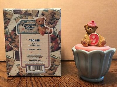 Enesco Cherished Teddies Birthday Age 9 Covered Box  796158