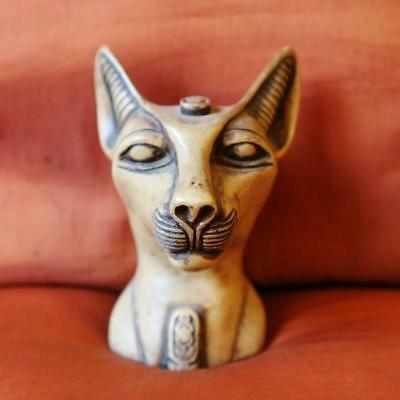 Unique Antique Solid Statue of Ancient Egyptian BASTET Cat Goddess Head Figurine