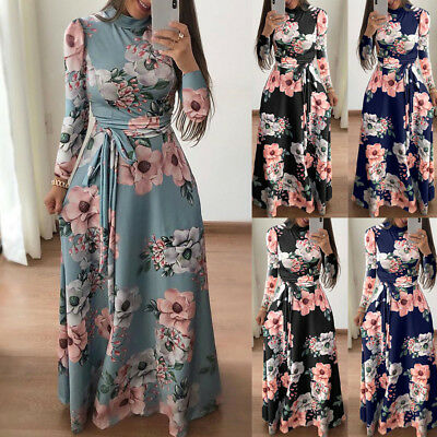 Women's Summer Boho Floral Short Sleeve Long Maxi Dress Party Beach Sundress US