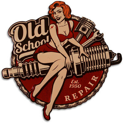 BLECHSCHILD - OLD School REPAIR ca.45x45cm US-RETRO CAR SCHILD, NEU TUNING DEKO