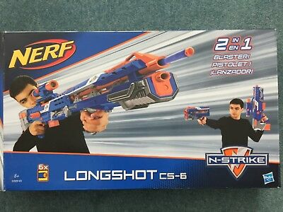 Nerf Longshot CS-6 N-Strike Toy Gun & Spare Dart Pack New!! By Hasbro