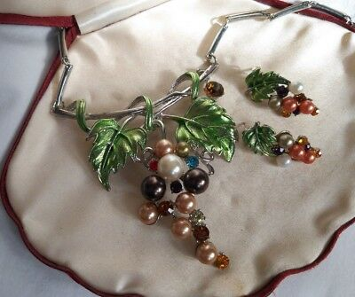 Unsigned silver, enamel, pearl & crystal grapevine necklace & earring set  Dujay