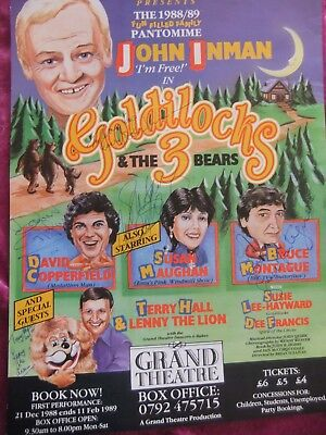 """PANTOMIME POSTER, 16"""" x 12"""", JOHN INMAN,, SWANSEA THEATRE. 1989. SIGNED 5 CAST."""