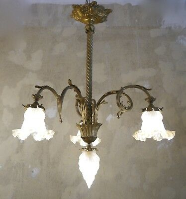 Exquisite French Antique Art Nouveau Chandelier Light Brass Satin Glass Bronze