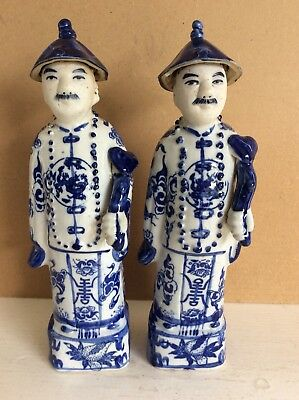 Two Antique Chinese Blue & White Figurines