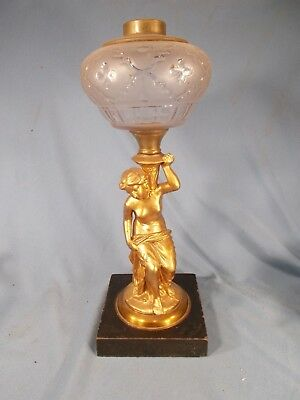 Antique Victorian QUALITY Female Figural Parlor Oil Lamp Spelter Marble Base