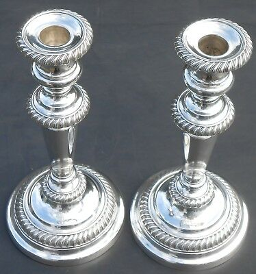Pair Lion Armorial Crest 10 Inch Candlesticks - Antique Silver Plated