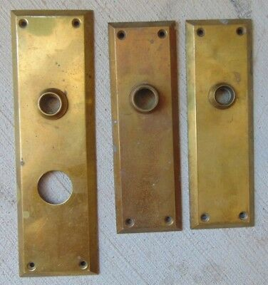 Lot of (3) Vintage Solid Brass Door Knob Back Plates