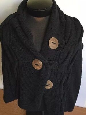 Moby Knits Scarf Wrap Nursery Sweater Cable Knit Top Black Handmade Cotton