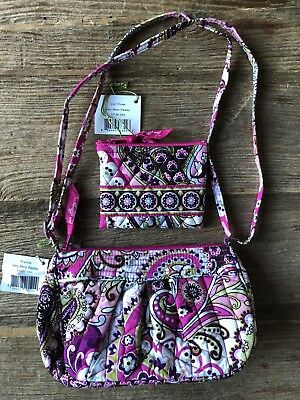 NWT Lot Vera Bradley Very Berry Paisley Frannie Crossbody Bag Purse & Coin Purse