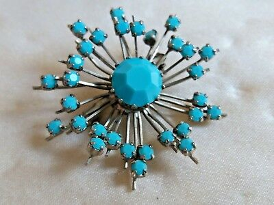Vintage striking silver & Turquoise sculptural starburst modernist brooch