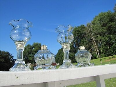 """4 Home Interior Homco Glass Fluted Votive Cups w/ Grommets. 3 3/4"""" T."""