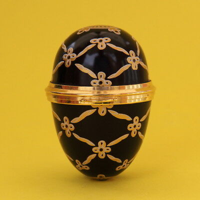 Staffordshire Enamels Black And Gold Patterned Egg Pill Trinket Box