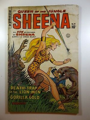 """Sheena Queen of The Jungle #10 """"Death-Trap of the Lion Men!"""" Good- Condition!!"""