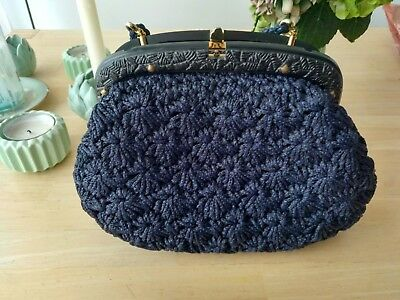 Handtasche Tasche Strick Blau Retro Made In Italy