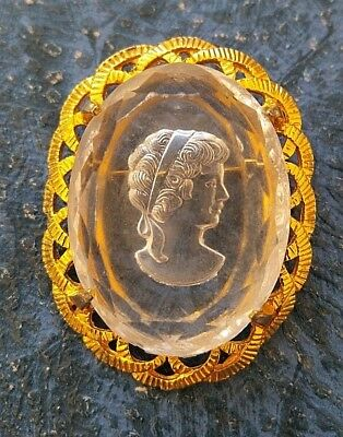 Stunning Victorian gold plated Rock Crystal reverse carved Intaglio Cameo brooch