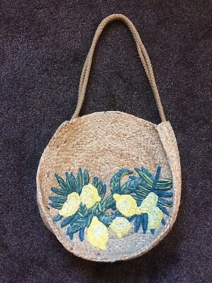 Brand New Never Used Monsoon Round Wicker Bag With Lemon Motif