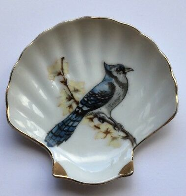 "Vintage Japan Shell Soap Trinket Pin Dish 4"" Blue Bird"