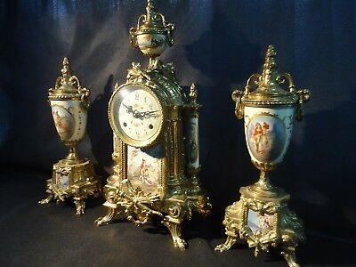 Antique Reproduction Franz Hermle French Style Garniture Clock Set