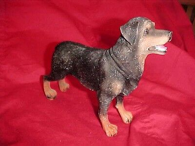 Rottweiler Dog Hand Painted May Rich Co. Resin Chalkware Type Figurine