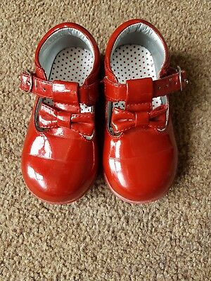 Mothercare Girls Patent Rusty Red Shoes Size 5