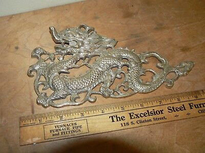 Brass Gold Tone Metal Chinese Dragon Wall Hanging